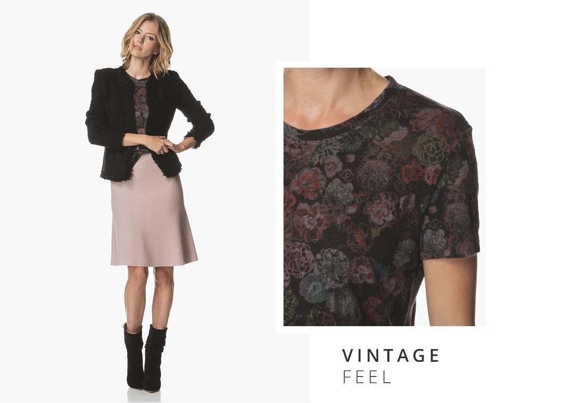 94788eedcb Black and pink make a cool color-block combination. By pairing the black  blazer and feminine pink skirt with the tonal floral print T-shirt you ll  create a ...