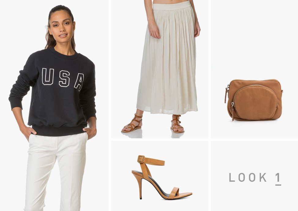 54c0c356b4 Look 1: Sweater + feminine maxi skirt + matching strappy pumps and bag