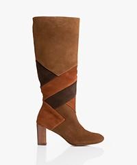 MKT Studio Natacha Suede Patchwork Boots - Rhum