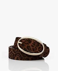 Vanessa Bruno Suede Leopard Print Belt - Fauve