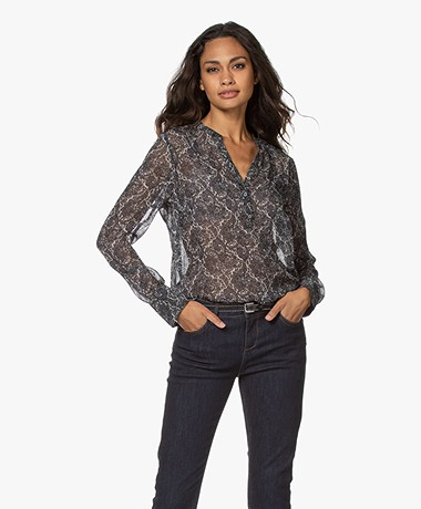 Josephine & Co Jelle Printed Chiffon Blouse - Navy