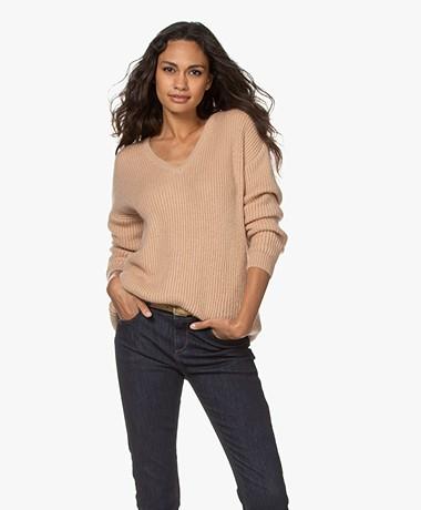 Sibin/Linnebjerg Olympia Mohair Blend V-neck Sweater - Sand