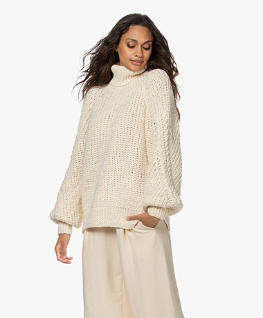 Mes Demoiselles Kurosawa Balloon Sleeve Turtleneck Sweater - Ecru