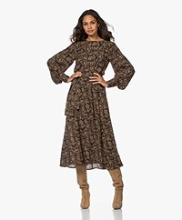Les Coyotes De Paris Drake Viscose Crepe Print Dress - Modern Camouflage