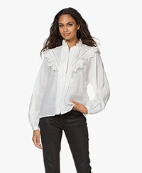 Les Coyotes De Paris Rose Embroidered Ramie Blouse - Off-white