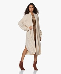 LaSalle Long Open Wool Blend Cardigan - Panna