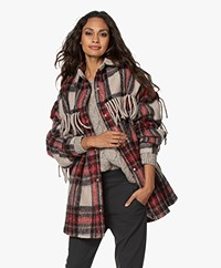 IRO Cocha Wool Blend Oversized Checkered Coat - Black/Red/Ecru
