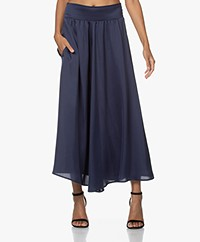 LaDress Penny Satin A-line Skirt - Navy