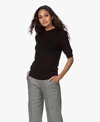 Plein Publique La Brioche Merino Ajour Sweater - Black