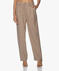 ba&sh Firenze Wool Blend Pleated Pants - Beige