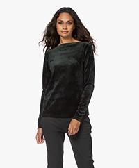 Woman by Earn Ditte Velvet Boat Neck Long Sleeve - Dark Green