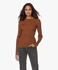 Woman by Earn Cory Rib Boothals Trui - Caramel