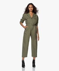Denham Galloway Cropped Boilersuit - Army Green