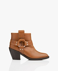 See by Chloé Western Leather Ankle Boots - Camel