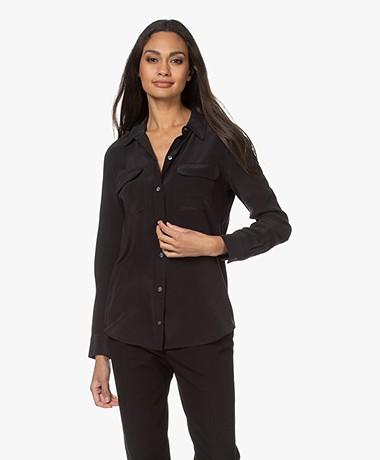 Equipment Slim Signature Washed Silk Shirt - True Black