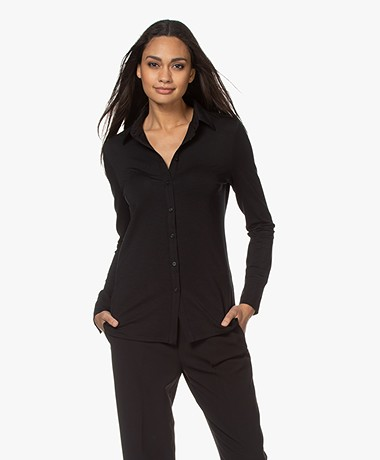 LaSalle Tencel Jersey Blouse - Zwart