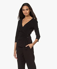 By Malene Birger Shanelle Crepe Jersey Wrap T-shirt - Black