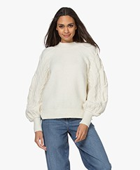 Les Coyotes de Paris Suze Cable Knit Sleeve Sweater - Off-white