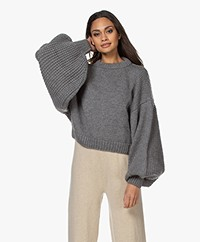 I Love Mr Mittens Jackie Cropped Balloon Sleeve Jumper - Charcoal