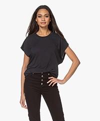 IRO Paulina Lyocell Mix T-shirt - Used Black
