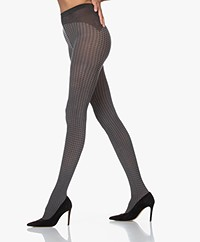 Wolford Leslie Houndstooth Tights - Black/Grey
