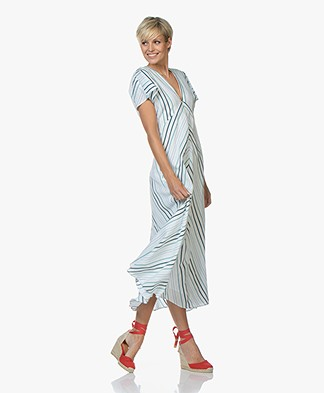 Drykorn Briana Striped A-line Dress - White/Green