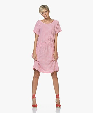 Josephine & Co Celine Striped Linen Blend Dress - Fuchsia