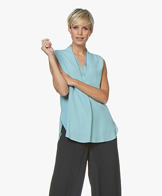 Repeat Layered V-neck Crepe Top - Ice Green