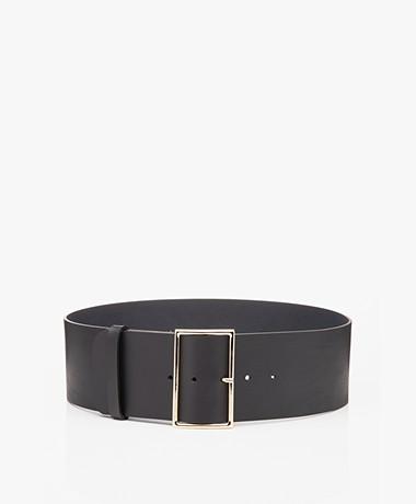 ba&sh Bianca Wide Leather Waist Belt - Navy