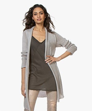 BRAEZ Knitted Open Cardigan in Cotton - Platin