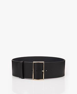 ba&sh Bianca Wide Leather Waist Belt - Black