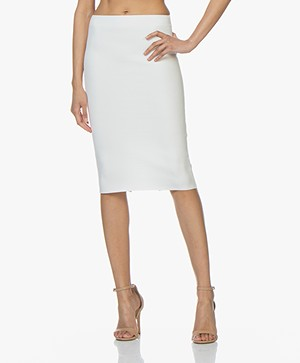 Drykorn Kama Viscose Blend Milano Jersey Skirt - Off-white