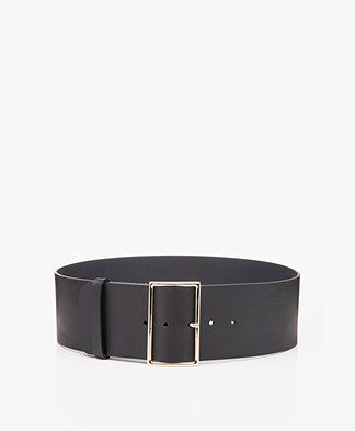 ba&sh Bianca Wide Leather Waist Belt - Navy