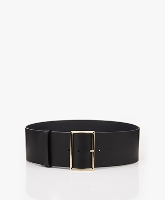 ba&sh Bianca Wide Leather Waist Belt - Black