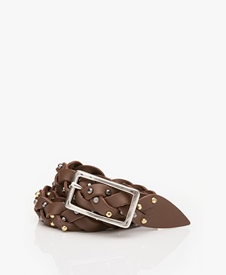 Zadig & Voltaire Jimmy Braided Leather Belt - Brown