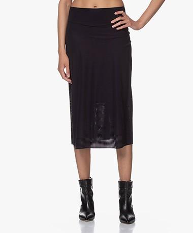 JapanTKY Nyoko Perforated Travel Jersey Skirt - Black
