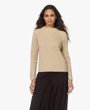 no man's land Rib Knitted Cotton Sweater - Oak