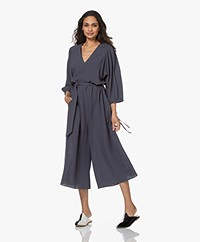 Closed Zoey Cropped Viscose Blend Jumpsuit - Thunder Sky