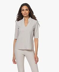 Woman by Earn Tul Tech Jersey Splithals T-shirt - Zand