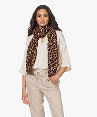 By Malene Birger Wool Leopard Print Scarf - Tan