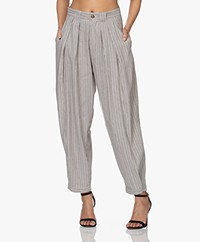 Closed Ivo Striped Linen Blend Pants - Thunder Sky