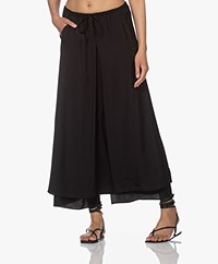 no man's land Gelaagde Crush Maxi Rok - Zwart