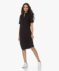 JapanTKY Fuyuko Lyocell Jersey Polo Dress - Deep Black