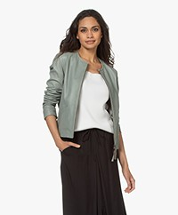no man's land Short Leather Jacket - Sage