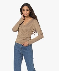 no man's land V-neck Wrap Long Sleeve with Lurex - Gold