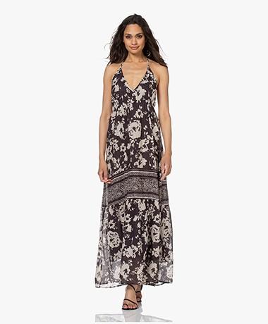 ba&sh Downtown Cotton Printed Halter Dress - Carbone