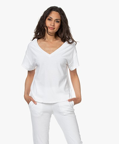 Majestic Filatures Terry Jersey V-neck T-shirt - White