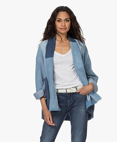 Closed Daria Patchwork Denim Kimono Jacket - Mid Blue