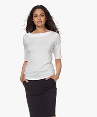 LaSalle Tencel Boothals T-shirt - Panna