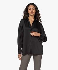 ba&sh Silver Crepe Shirt - Black